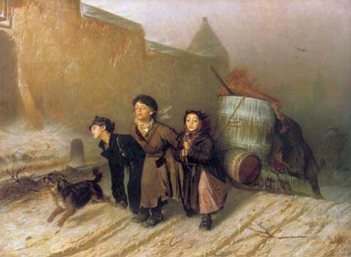 Василий Григорьевич Перов - «Тройка. Ученики мастеровые везут воду», 1866 год