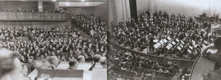 Зал Куйбышевского оперного театра во время первого исполнения 7-й симфонии Шостаковича