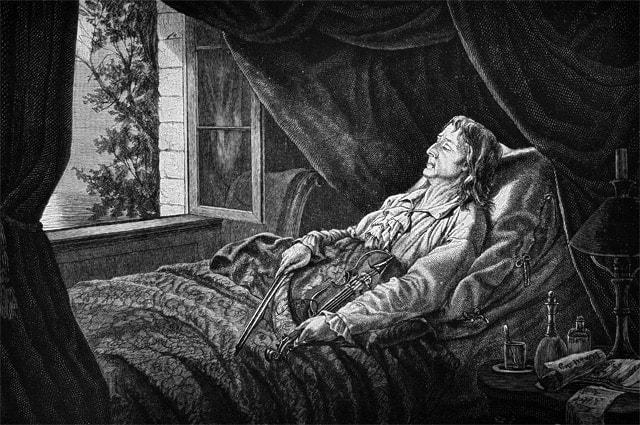 Никколо Паганини на смертном одре. Гравюра на дереве, 1880 год