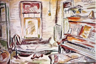 Комната, где была создана опера «Порги и Бесс». Акварельный эскиз Джорджа Гершвина.