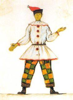 Александр Бенуа, эскиз костюма Петрушки для балета Стравинского «Петрушка», 1911 год