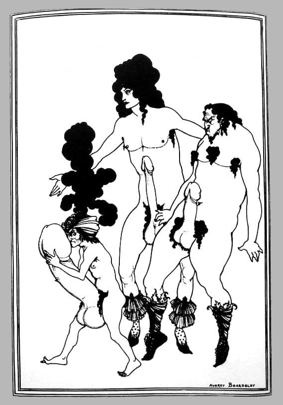 Рисунок О. Бердслея из серии иллюстраций к комедии Аристофана «Лисистрата»
