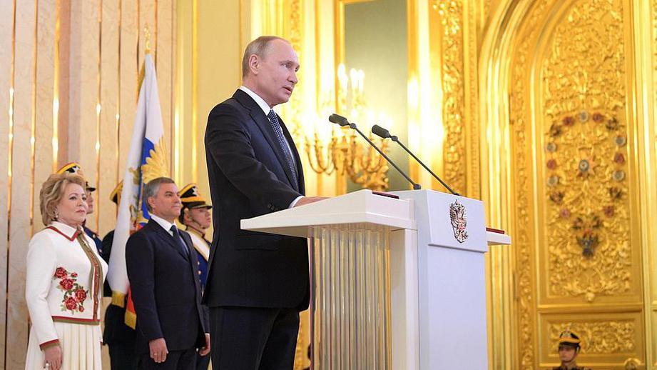 Владимир Путин в Кремле во время церемонии инаугурации 7 мая 2018