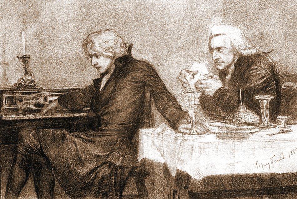 Михаил Врубель. Моцарт и Сальери. Иллюстрация