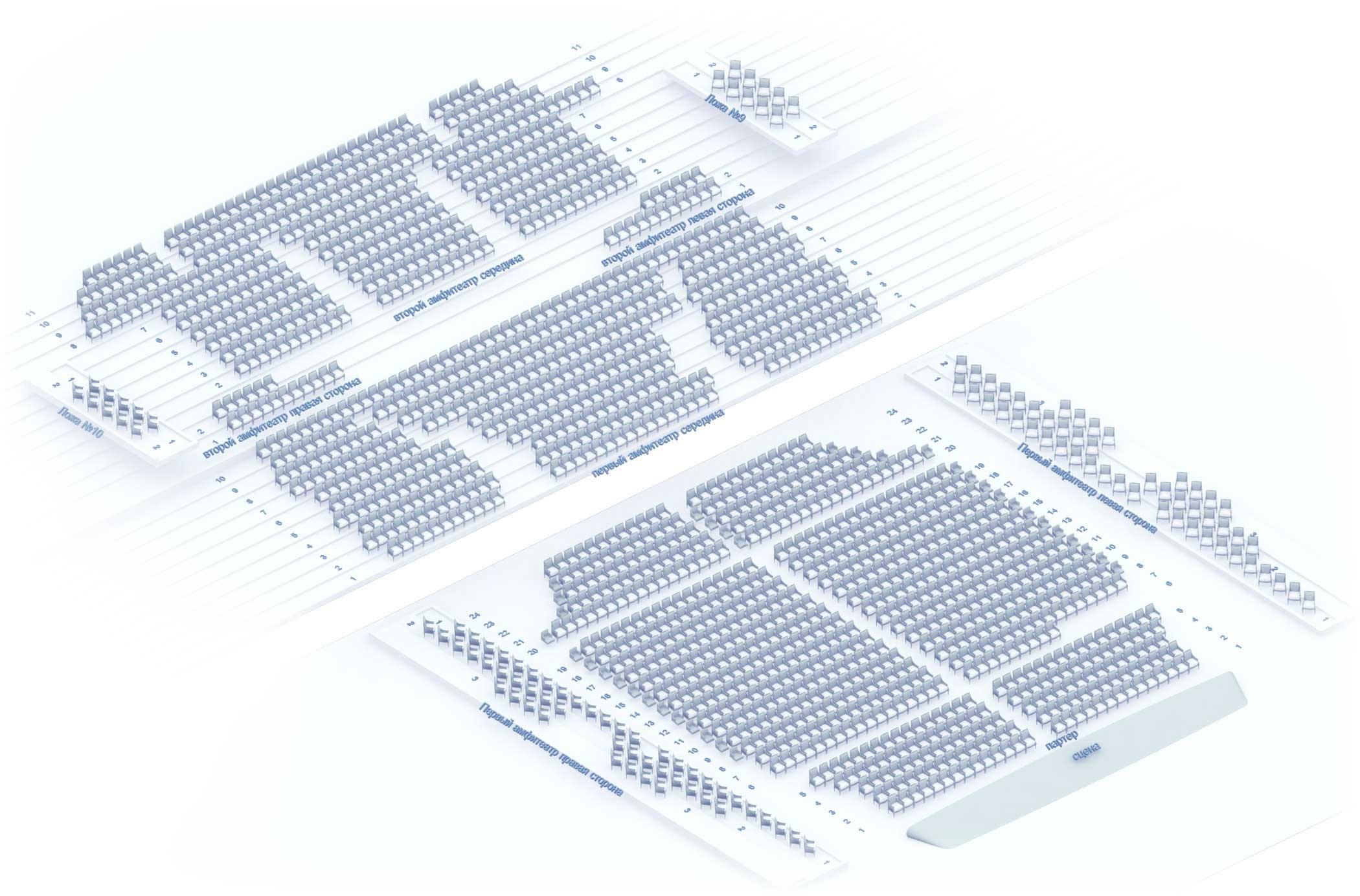 Схема Большого зала Московской консерватории