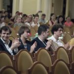 Пианисты - участники XVI Международного конкурса имени Чайковского во время объявления результатов второго тура. Фото - пресс-служба Конкурса имени Чайковского