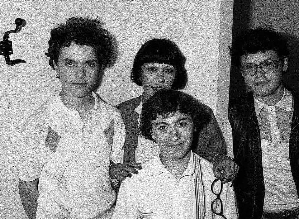Евгений Кисин, Максим Венгеров и Вадим Репин с французского журналисткой. Июль 1987