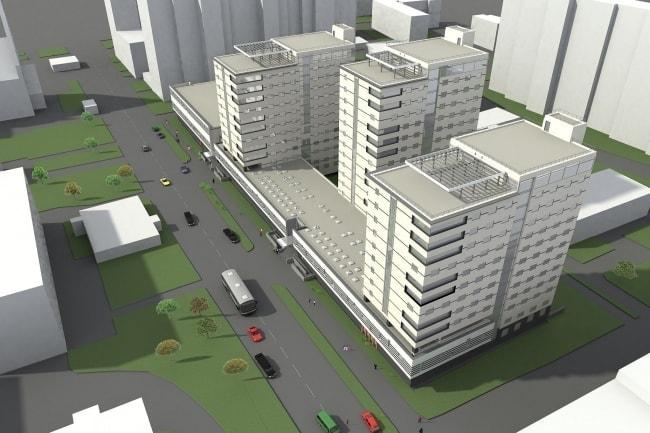 Рендер нового комплекса зданий общежития Московской консерватории