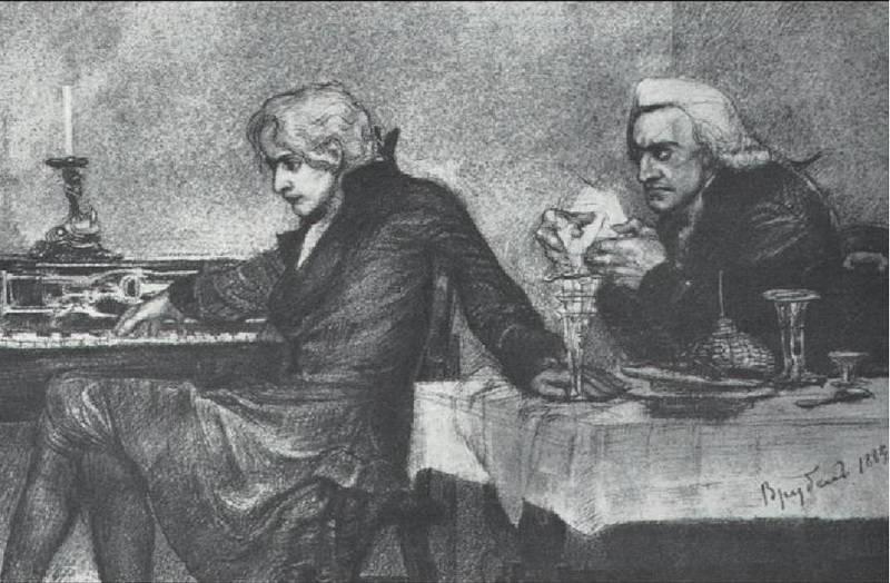 """М, А. Врубель. """"Сальери всыпает яд в бокал Моцарта"""""""