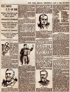 Газета New York Herald от 06.05.1891 г. с заметкой и рисованным портретом П. И. Чайковского