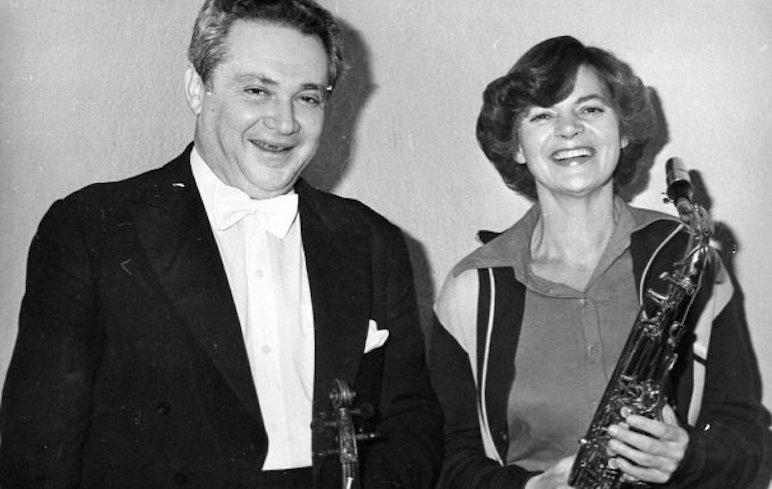 Эдуард Грач и Маргарита Шапошникова перед концертом в БЗК, 1980-е годы