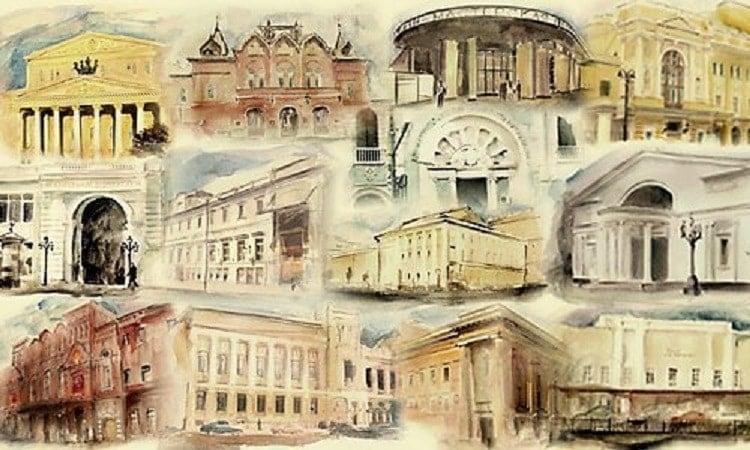 """Театры Москвы. Коллаж - журнал """"Театрал"""""""