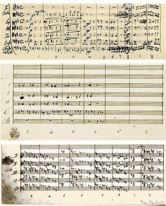 Фрагменты партитур Брукнера: Месса d-moll, Восьмая и Девятая симфонии