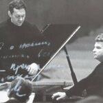 Эмиль Гилельс и Израиль Гусман на репетиции в Горьковской филармонии