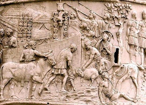 Изображения похожих духовых инструментов встречаются на барельефе колонны Траяна в Риме и на мозаике из ливийского Злитена